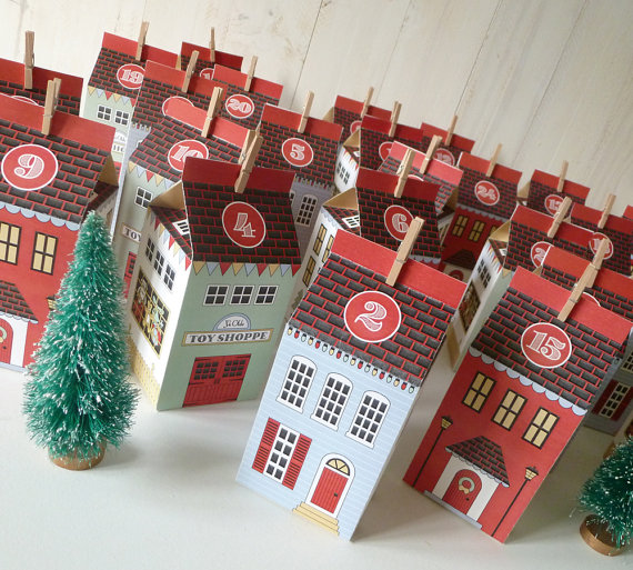 Printable Advent Houses from Little Llama Shoppe on Etsy